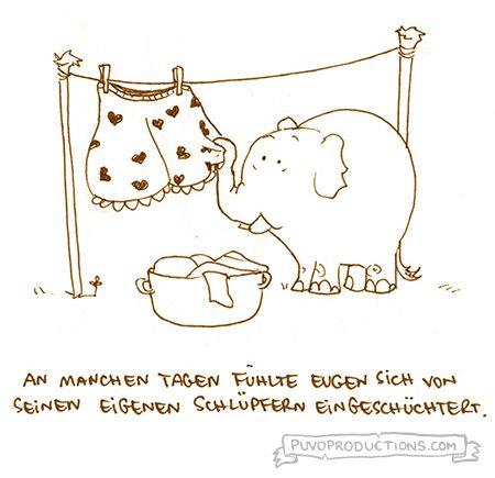 Ein Cartoon in schwarz-weiß. Ein Elefant hängt eine große Öko-Wäsche Unterhose mit Herzen darauf auf der Wäscheleine aufhängt