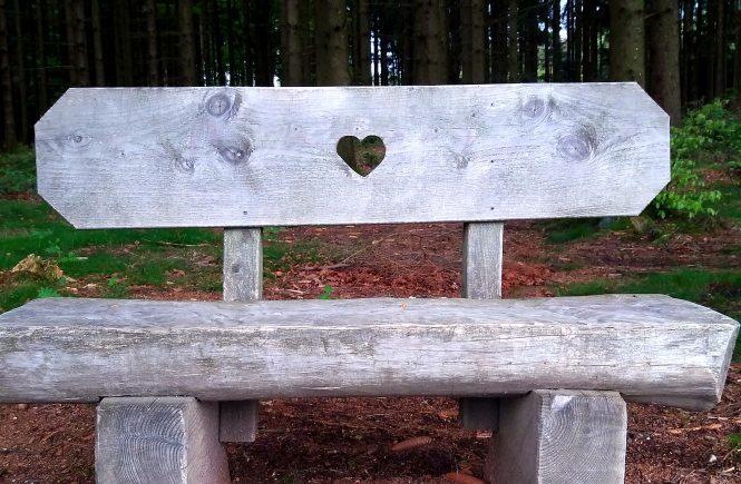 Ein graues, grob gezimmertes Bankerl beim Baumkronen-Weg in Kopfing. Es hat in der Mitte ein hübsches Herz.