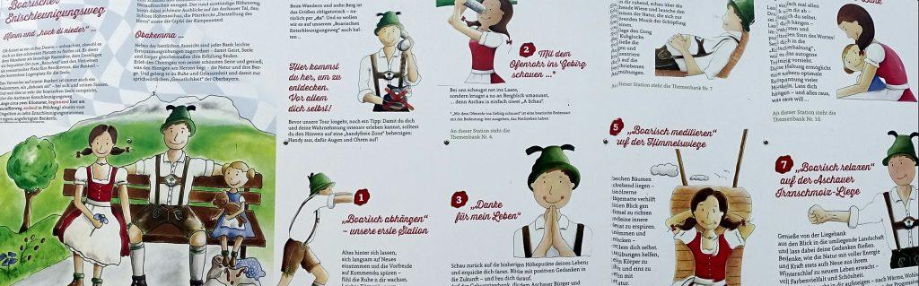 Bebilderte Anleitung zum Boarischen Entschleunigungsweg. Hier wird alles erklärt, was man bei den Stationen machen kann.