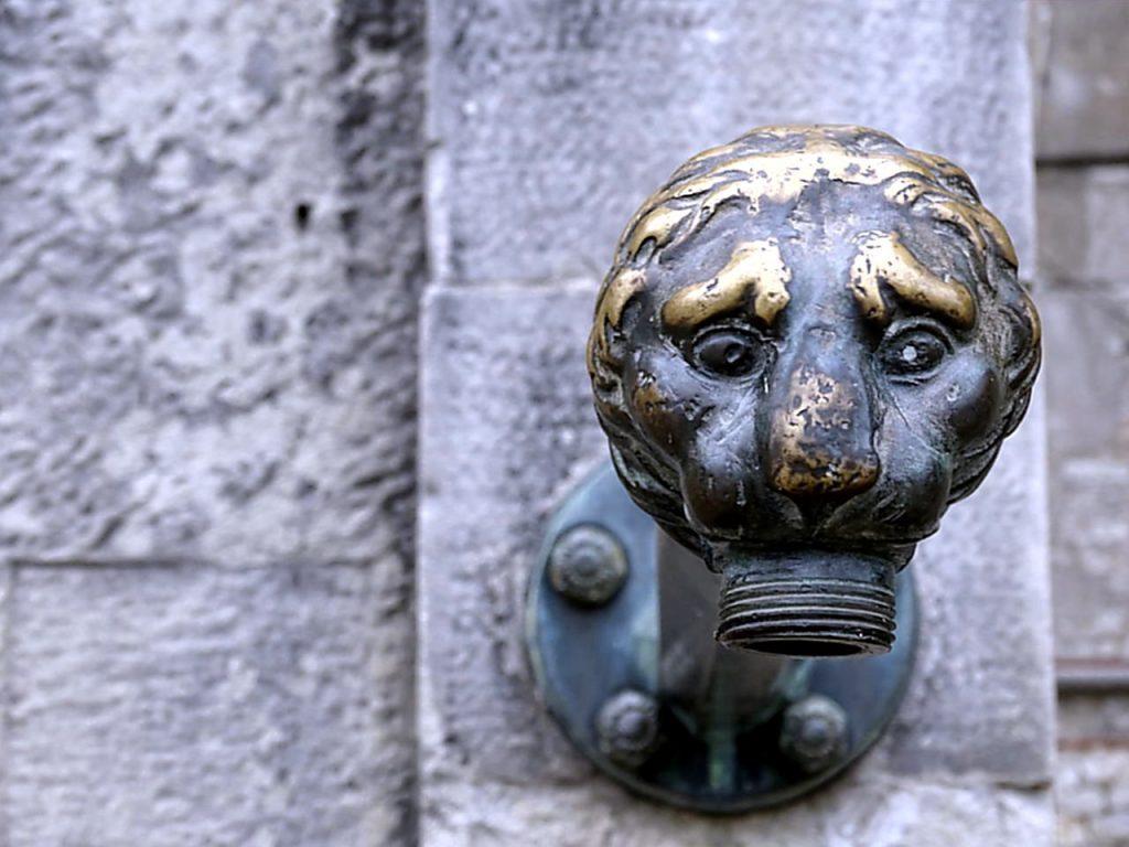 Wasserhahn mit einem Löwenkopf
