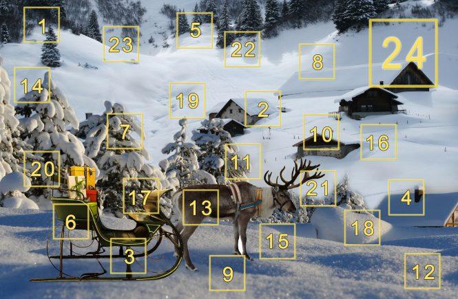 Ein Adventskalender mit einer Schlitten-Szene. Im Hintergrund ist alles verschneit und man sieht die verschiedenen Türchen