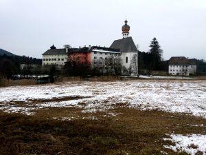 Höglwörth See - Blick aufs Kloster von der Wiese