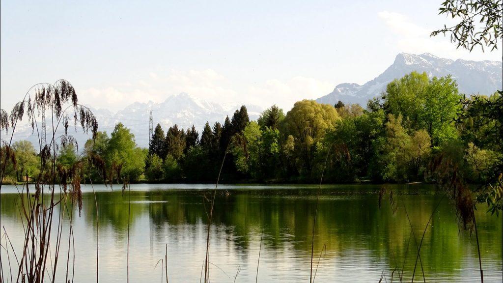 Blick vom Ostufer des Salzachsees auf den Untersberg und das Tennengebirge