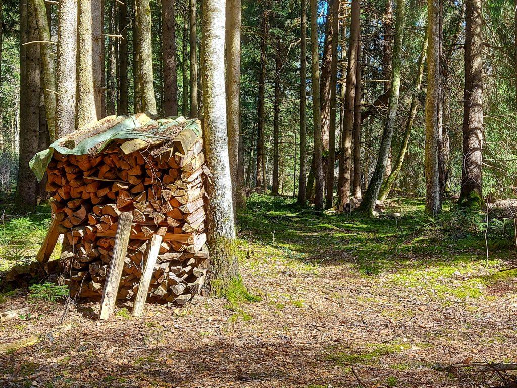 Holzstoss am Weg
